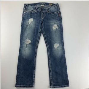 Silver Tuesday Jeans Distressed Capri Crop Pants